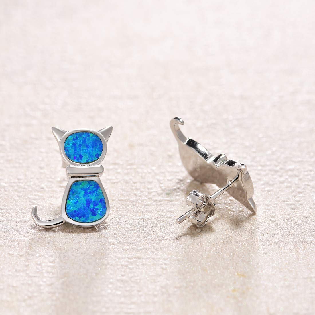 FANCIME 925 Sterling Silver Cat Earrings White Gold Plated Cute Kitty Blue Aqua Created Opal Stud Earrings For Women Girls