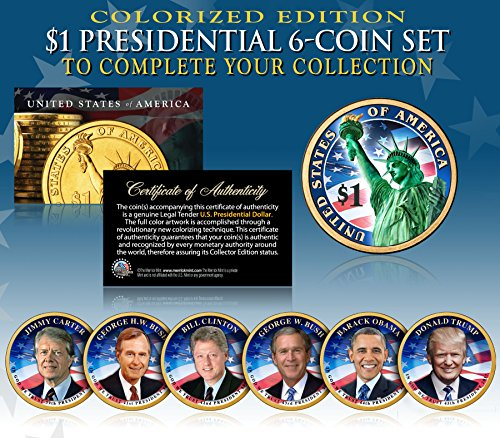 LIVING PRESIDENTS w/ TRUMP 2016 Presidential Dollars 6-COIN SET 2-Sided COLOR (The Dollar Coin)