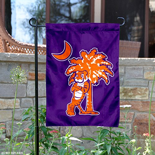 Clemson University Garden - Clemson Tigers Mascot and Palmetto Garden Flag