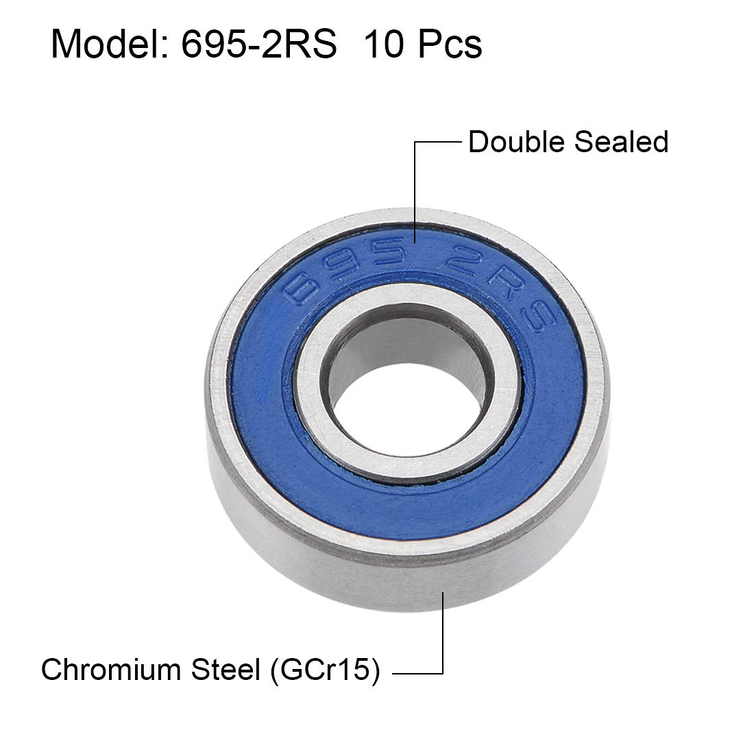 ABEC3 sourcing map 695-2RS Deep Groove Ball Bearings 5mm x 13mm x 4mm Double Sealed Chrome Steel Blue Cover P6 10pcs