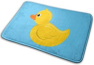 NGFF Yellow Rubber Duck Blue Water Bath Mat Non Slip Absorbent Super Cozy Velvet Bathroom Rug Carpet Bath Rugs