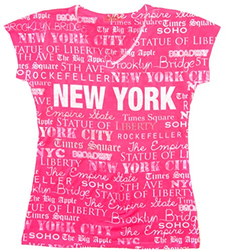 T-shirt Pink York New Womens (Sweet Gisele New York Inspired Stud Embellished Short-Sleeved T-Shirt - 2X-Large (Pink))