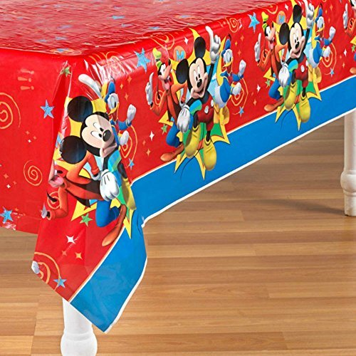 Mickey Mouse 'Fun and Friends' Plastic Table Cover (1ct) (Mickey Mouse Table Cloth)