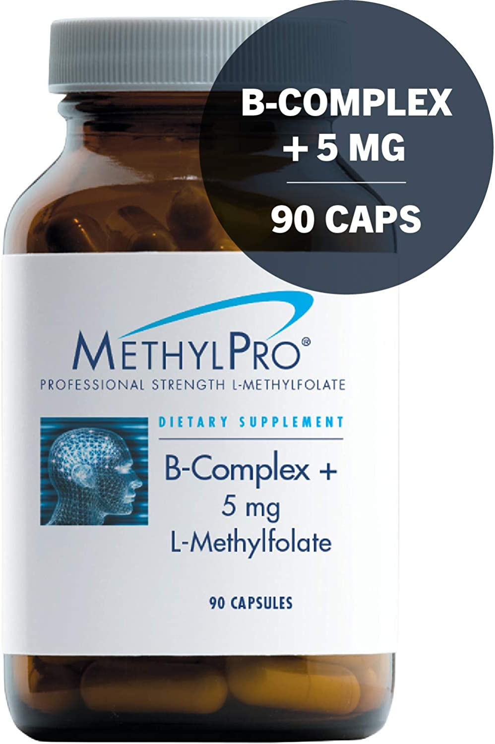 MethylPro B-Complex 5mg L-Methylfolate 90 Capsules – Professional Strength Active Folate for Energy Mood Support with Methyl B12 B6 as P-5-P, Non-GMO Gluten-Free