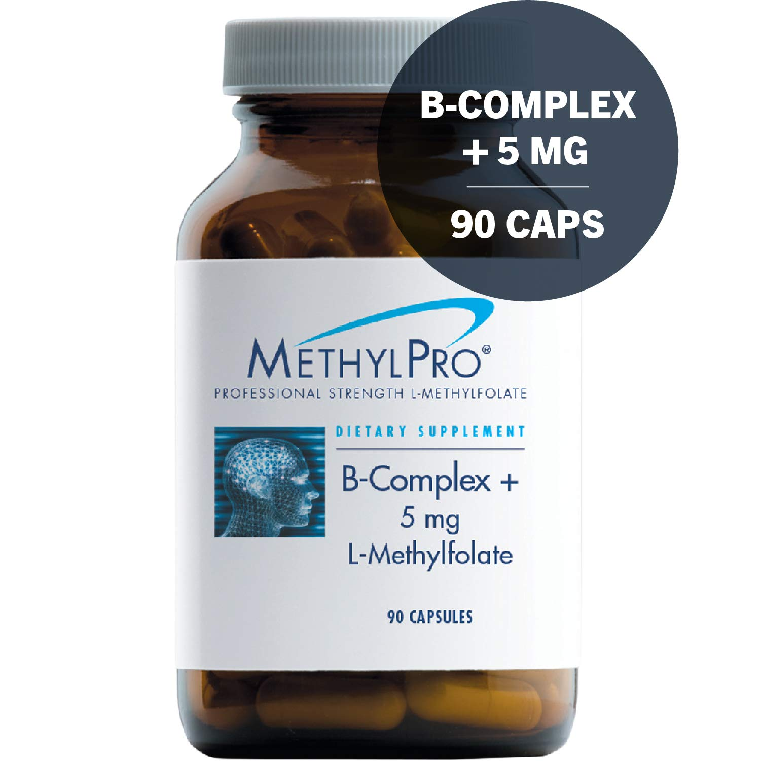 MethylPro B-Complex + 5mg L-Methylfolate 90 Capsules - Professional Strength Active Folate for Energy + Mood Support with Methyl B12 + B6 as P-5-P, Non-GMO + Gluten-Free by MethylPro