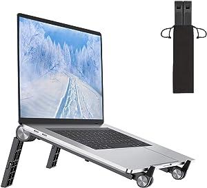 """Portable Laptop Stand, TEKI Adjustable Computer Stand Foldable Laptop Riser Desktop Notebook Holder for Laptop Within 16"""" (Black)"""