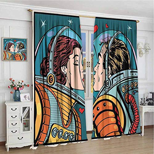 GUUVOR Love Decor Wear-Resistant Color Curtain Space Man and Woman Valentines Kissing Science Cosmos Couple Pop Art Design Print Waterproof Fabric W96 x L84 Inch Multi