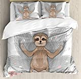 Sloth Twin Duvet Cover Sets 4 Piece Bedding Set Bedspread with 2 Pillow Sham, Flat Sheet for Adult/Kids/Teens, Little Cute Sloth Meditation Lotus Flower Yoga Asana Positions Motivational Fun
