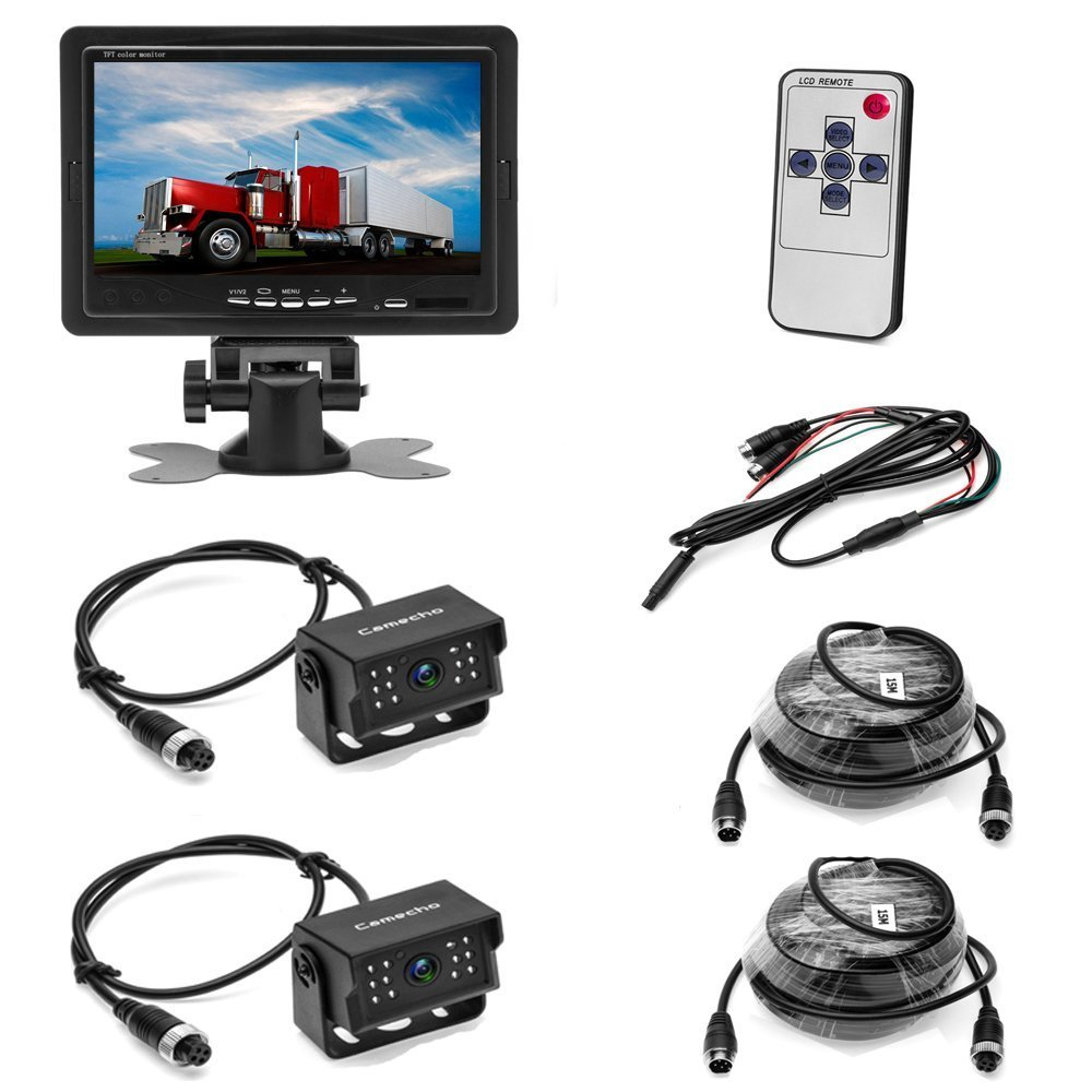 Camecho 12V 24V Backup Camera Monitor Kit with 2 Rear View Camera Waterpoof Support Night Vision /& 7 Car Monitor with Dual 50 ft AV Cables for Bus//Truck Van//Trailer//RV//Campers