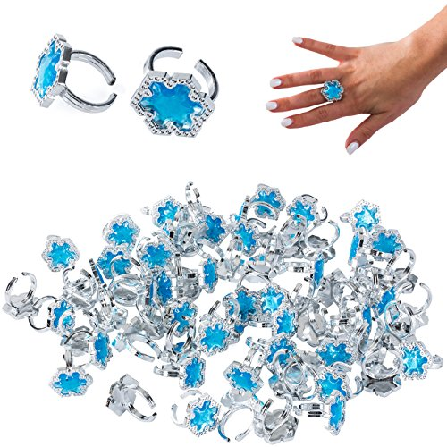 Princess Rings 72 Pc - Toy Rings Bulk - Princess Party Supplies Blue - Snowflake Rings by Tigerdoe (Frozen Party Items)