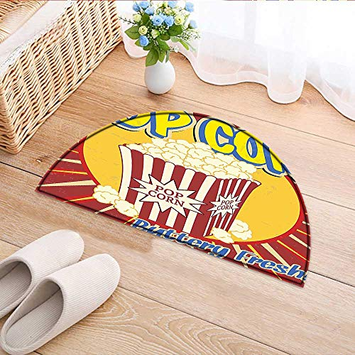 Carpet Floor mat Bath mat Door mat Vintage Grunge Style Pop Corn Commercial Print Old Fashioned Cinema Movie Film Snack Water-Absorbing Floor mat Anti-Slip mat W31 x H20 INCH by Jiahonghome
