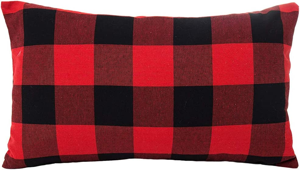 4TH Emotion 12 x 20 Inch Christmas Red and Black Buffalo Check Plaids Throw Pillow Case Cushion Cover Holiday Decor Cotton Polyester for Sofa