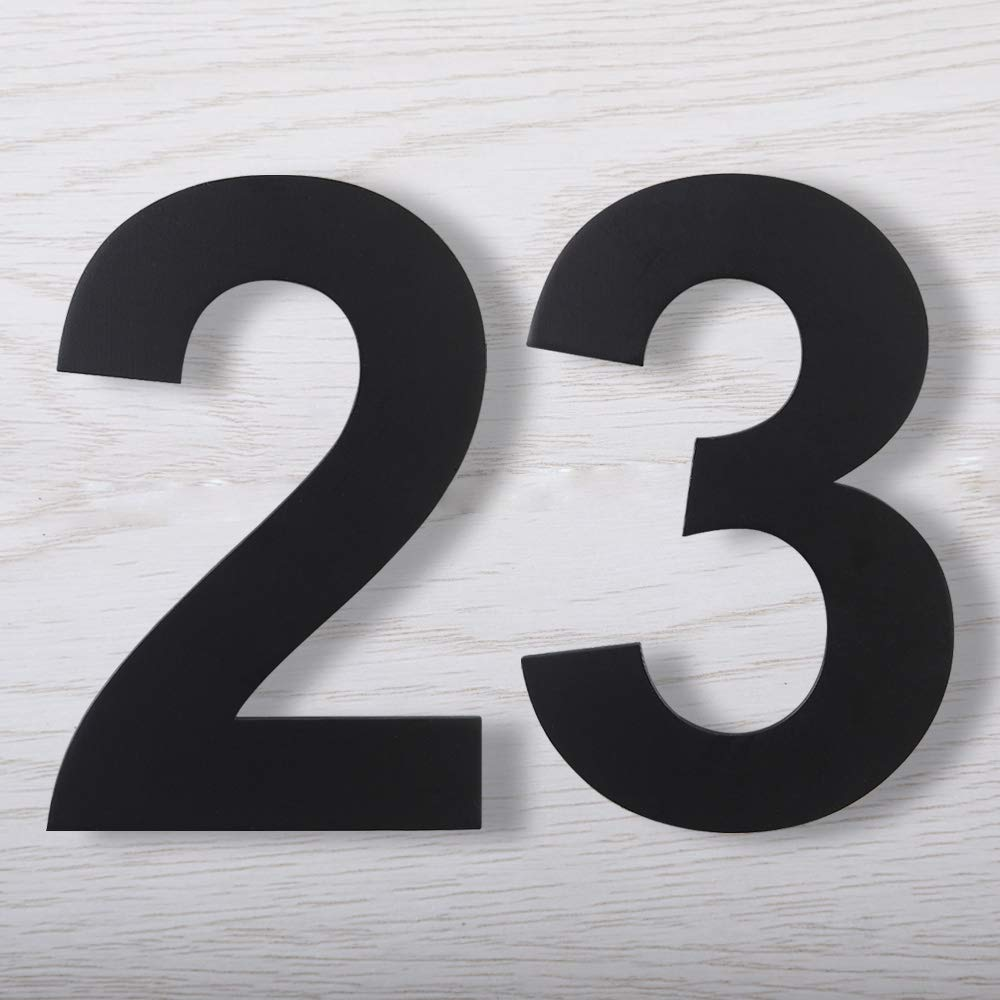 6//9 Contemporary Style Number Six//Nine MewuDecor Floating House Number 6 Inch Stainless Steel Matte Black