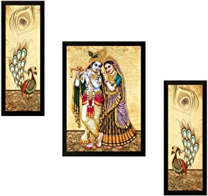 NOBILITY Radha Krishna UV Art Painting Matte Textured Framed Synthetic Wood Statues Set of 03