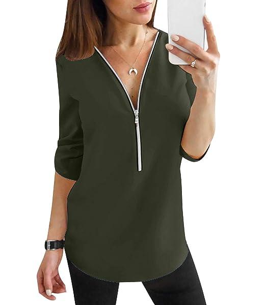 a329da83d57ee Blusas Mujer Escote V Blusa Manga Larga Camisas Señora Top Camisa De Gasa  Camiseras Oficina Elegantes