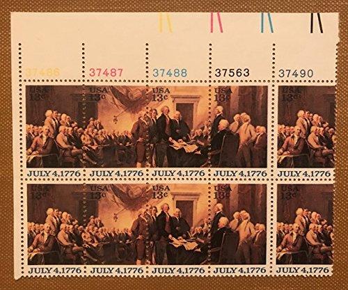 U.s.postage 13 Cent Bicentennial 1776-1976 Plate Block