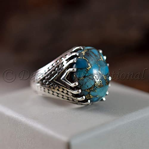47fdb1fa3 Blue Copper Turquoise Ring, Real 925 Sterling Silver Jewelry, Man's Ring,  Big Ring