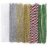 60 Pfeifenputzer/Pfeifenreiniger, Metallic, Plüsch & Glitzer, 30cm lang, verschiedene Farben: weiß irisierend, silber, hellgold, gold, rot, grün | Basteln für Weihnachten, Zuckerstangen-Optik