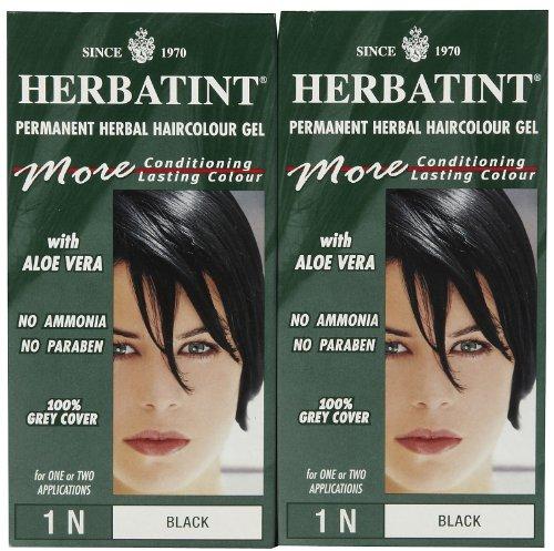 Herbatint Permanent Herbal Hair Color Gel, Black, 1N, 2 pk