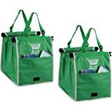 2 Packs of Cart Trolley Cart Bags Shopping Reusable Grocery Bag for Cart, Green