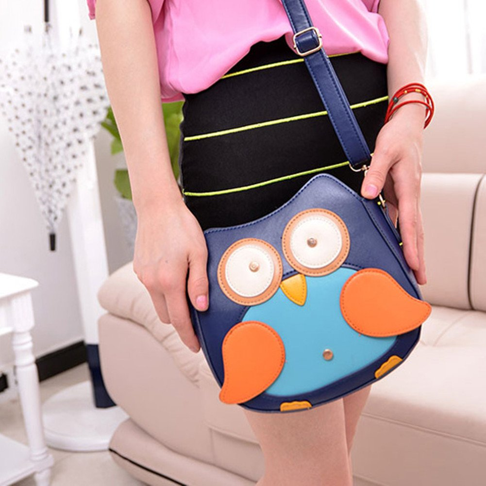 Jocestyle Lovely Women Girls PU Leather Cute Owl Pattern Small Cross Body Bag Shoulder Bag