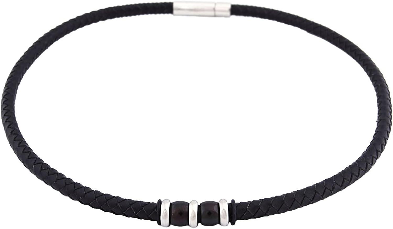 Dondon - Collar de Cuero Trenzado con Cierre de Acero Inoxidable Negro