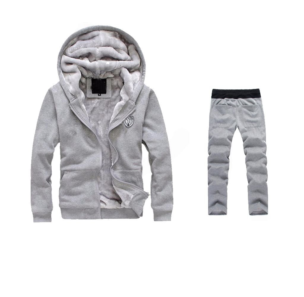 WM&MW Mens Tracksuit Warm Fleece Sport Zipper Hooded Sweatshirt Coat Hoodies+ Gym Sweat Pants (L (Asia:XL), Gray) by WM&MW
