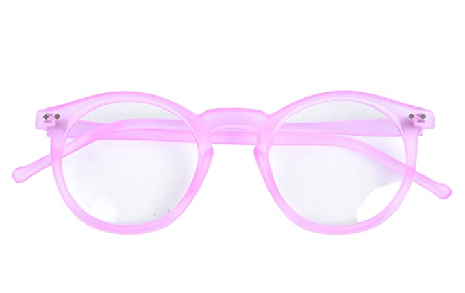 577cfb3b209 Image Unavailable. Image not available for. Colour  Beison Horn Rimmed  Round Eyeglasses Frame Plain Glasses Clear Lens (Matte light pink ...