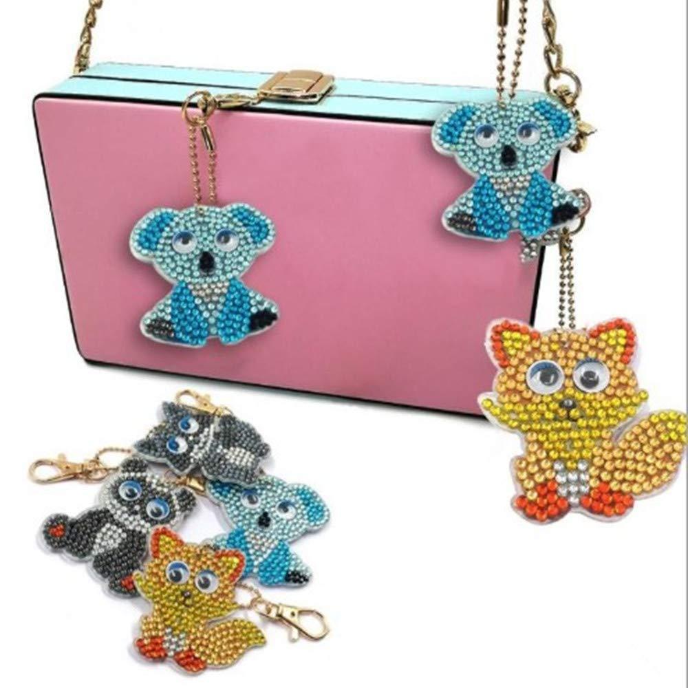 animaux Free 4pc//set animal porte-cl/és Injoy Porte-cl/és en peinture diamant 5D avec pendentif en forme de mosa/ïque sac /à breloques porte-cl/és accessoires de d/écoration porte-cl/és porte-cl/és