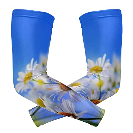 Arm Sleeves White Petals Yellow Flower Womens Sun UV Protection Sleeves Arm Warmers Cool Long Set Covers
