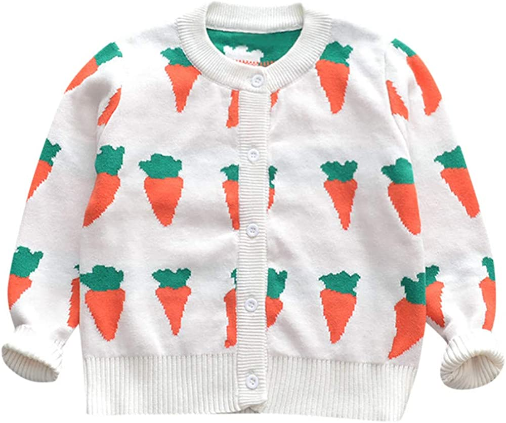 FORESTIME Carrot Print Knit Sweater for Baby Boys Girls 0-5 Years Old,Long Sleeves Autumn Kid Outwear Clothes