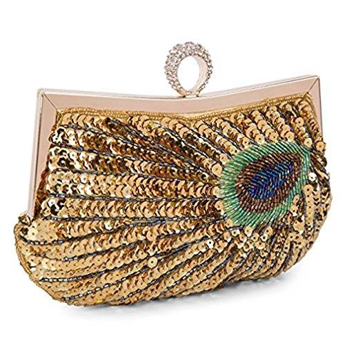 Women Embroidery Peacock Full Clutch Rhinestone Shining Purse Gold Evening Beaded Baglamor Bag Sequins Handbag dHCw0dq