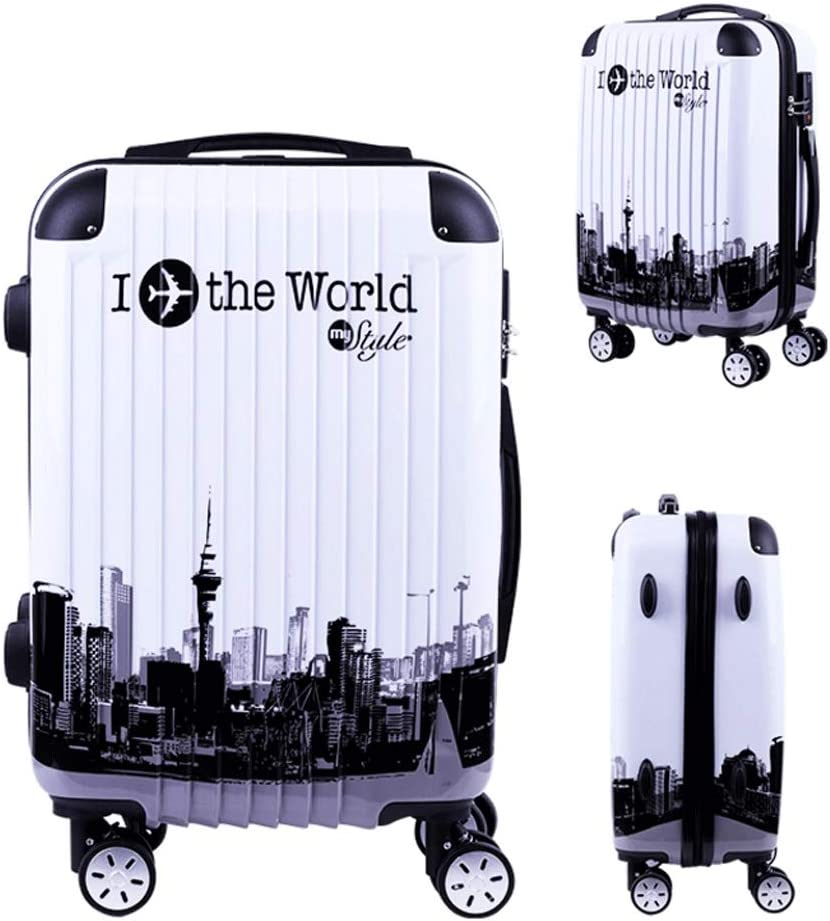 Color : White, Size : 20 inches Practical Security Password Telescopic Trolley Case Retro Personalized Suitcase 4 Wheels HUANGA Suitcase