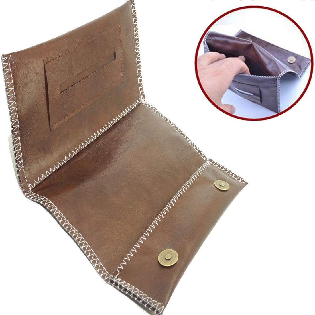 Kavatza Leather Tobacco Pouch Smoking Paper Slot Cig Case Rolling Tips Purse