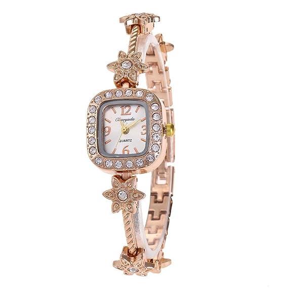 YAZILIND de cuarzo reloj de pulsera de diamantes de imitación de acero de titanio correa de