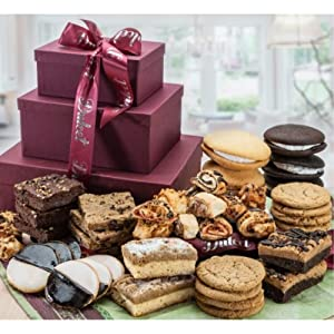 Dulcet Gift Baskets Grand Gourmet Gift Tower -Unique Food Gift Basket-Holiday Gifts for Clients-Includes: Walnut Brownies, Chocolate Chip Blondies, Black and White Cookies, Crumb Cakes, Chocolate Chip Cookies, and more! Top Gift! Ideal for Christmas Office