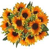 Gtidea 2Pcs Silk Sunflowers Artificial Flowers Bouquet Home Floral Decor Party Ceremony Wedding in Yellow Orange