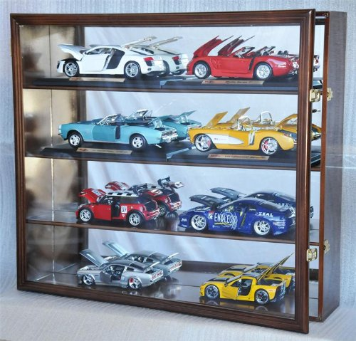 1/18 Scale Diecast Display Case Cabinet Holder Rack w/UV Protection- Lockable with Mirror Back, Walnut