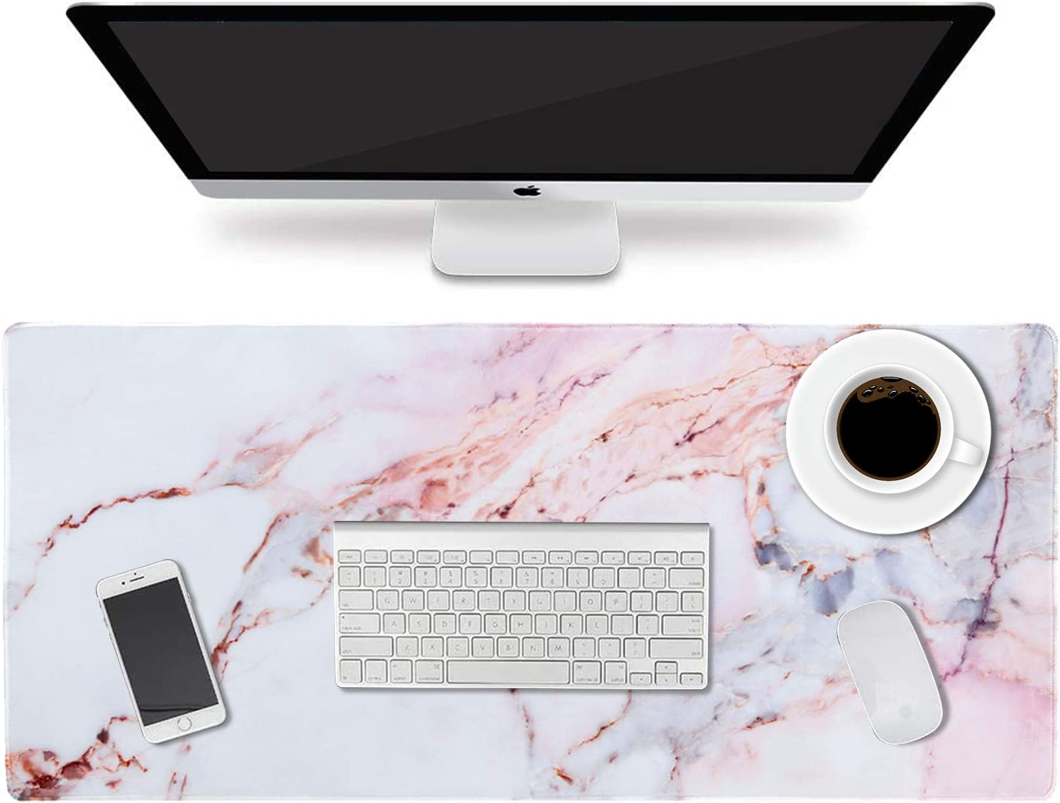 """HAOCOO Desk Pad, Office Desk Mat 35.4"""" ×15.7"""" Large Gaming Mouse Pad Durable Extended Computer Mouse Pad Water-Resistant Thick Writing Pads with Non-Slip Rubber Base for Office Home,Colorful Marble"""