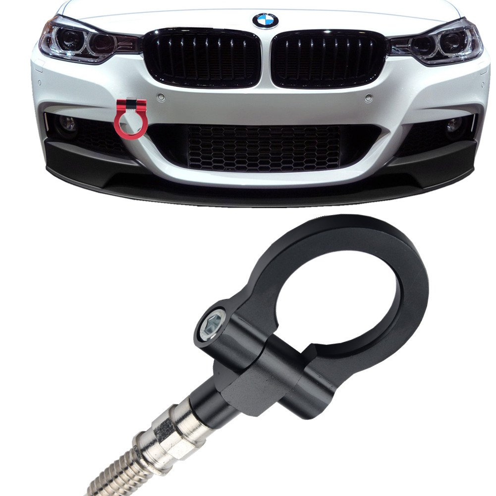 JGR Track Racing Style Tow Hook Towing Eye CNC Aluminum Screw On Front Rear Bumper For BMW 3 Series E36 E46 E90 E91 E92 E93 318 320 323 325 328 330 335 M3 1992 to 2012 Red