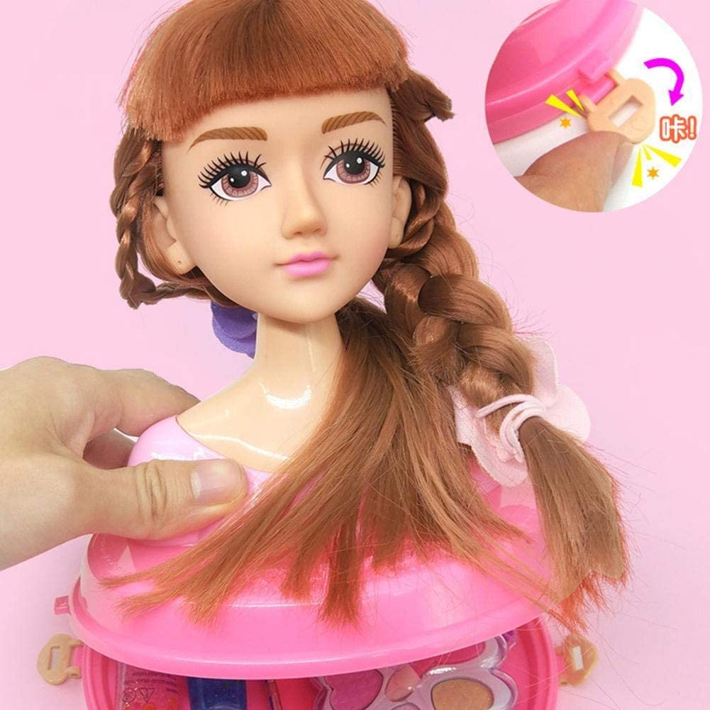 LINKLANK Hairdressing Set,Role Play Kit For Girls Toy Set Make-up//Hairdressing Head Doll Head Hairdressing And Make Up Hair Bead Set Creative Styling Girls Dress Up Combs Tweezers Dresser Toys
