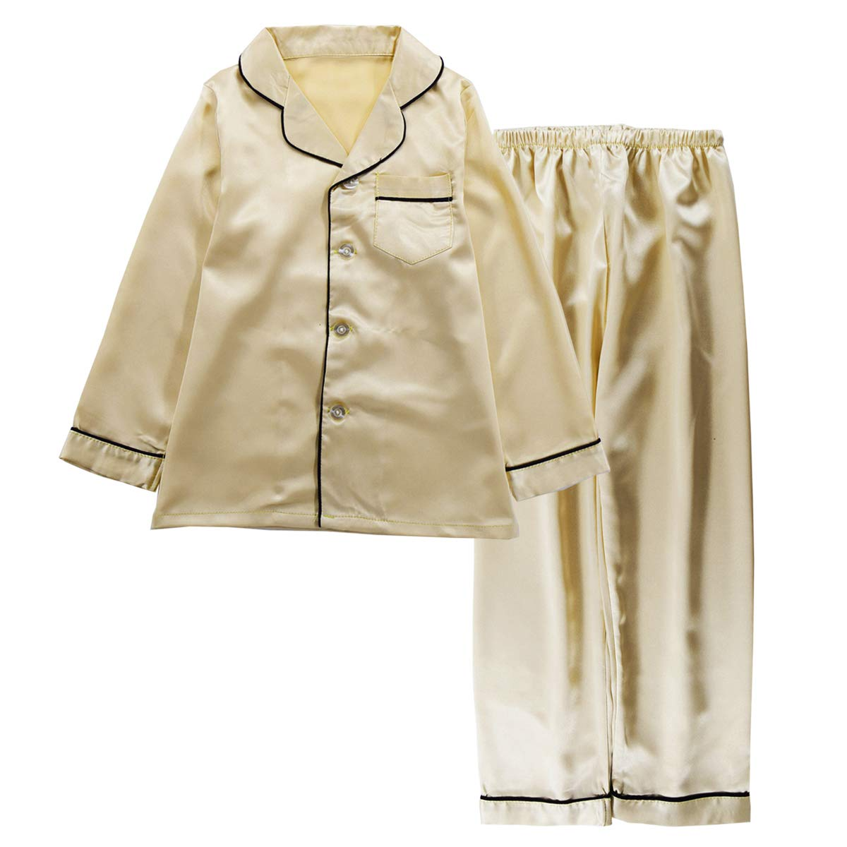 JOYTTON Kids Satin Pajamas Set PJS Long Sleeve Button-Down Sleepwear Loungewear