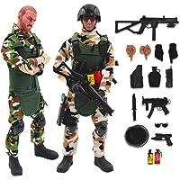 deAO Soldados de Fuerzas Armadas Conjunto de 2 Figuras de Acción Unidad de Defensa Militar Muñecos de Combate con…