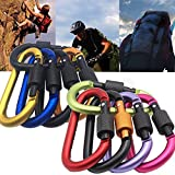 JTENG Aluminum Alloy D Shape Carabiner KeyChain Clip hook ,Lock Buckle -Pack of Assorted Color for Outdoor Camping EquipmentCarabiners
