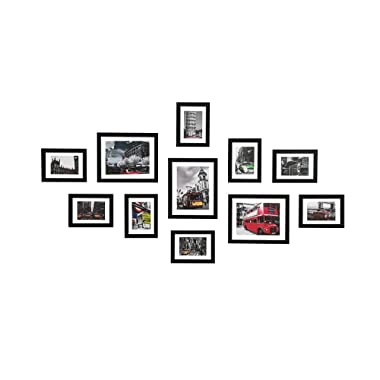 WOOD MEETS COLOR 11 Pcs Picture Frames Gallery Frame Set for Wall, with Hanging Template, Real Glass Window and Photo Mats, 3-8x10 and 8-5x7 Collage Frames (Black)