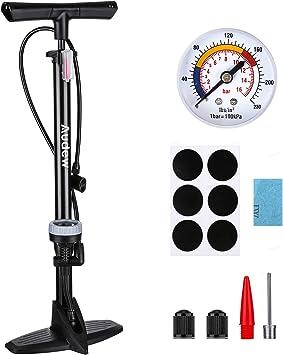 Audew Bomba de Bicicleta Profesional De Bastidor/Pie con Manómetro, Bomba de Mano Portátil de 230 PSI: Amazon.es: Coche y moto