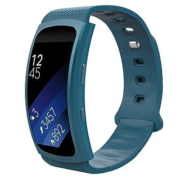 MoKo Samsung Gear Fit2 Correa, Fit 2 Pro Pulsera Deportiva Silicona Suave Reemplazo Sport Band para Samsung Gear Fit 2 SM-R360 Smart Watch, Azul ...