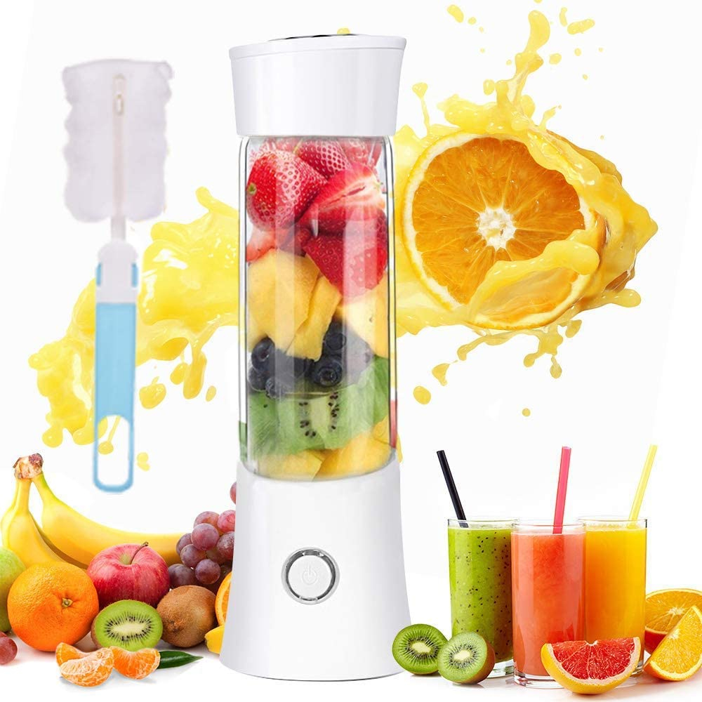Portable Personal Blender, Household Juicer fruit shake Mixer -Six Blades, BPA Free 480ml Baby cooking machine with USB Charger Cable (white)