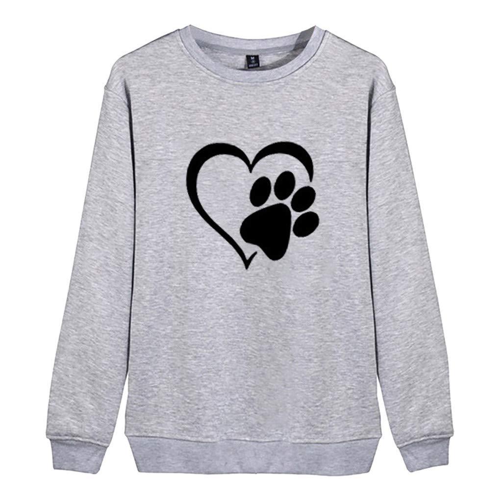 〓COOlCCI〓Women's Novelty Sweatshirts,Women Casual Sweatshirts Crewneck Long Sleeve Sweatshirt Pullover Tops Hoodies Gray by COOlCCI_Womens Clothing