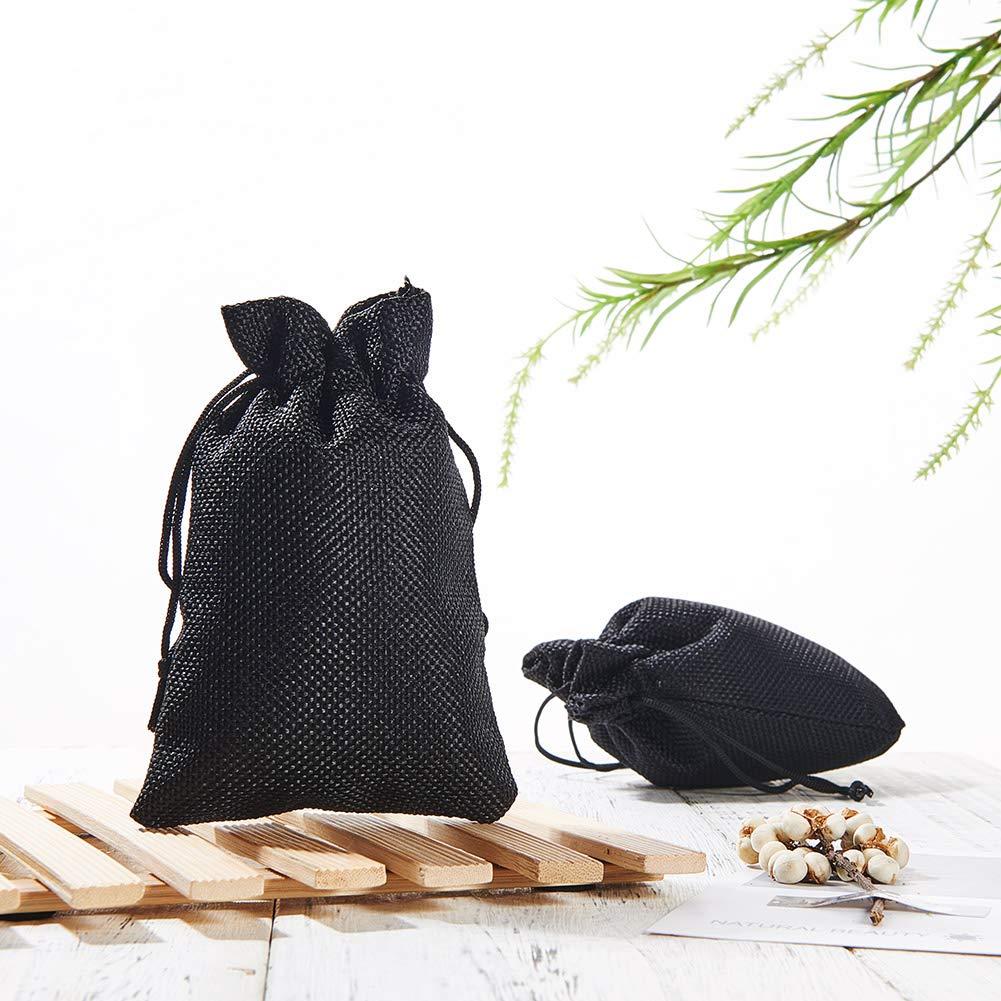 Samtsäckchen schwarz mittel 14x9,5cm Samtbeutel Schmuckbeutel Geschenkbeutel
